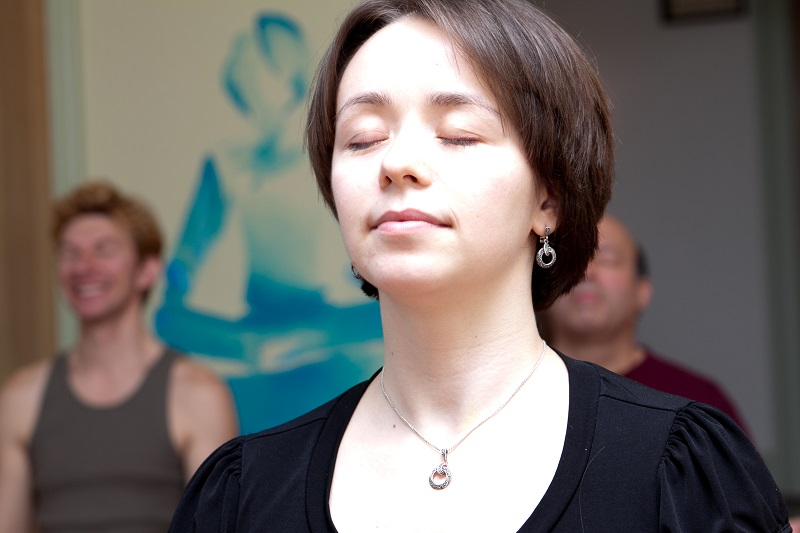 closeup of woman meditating
